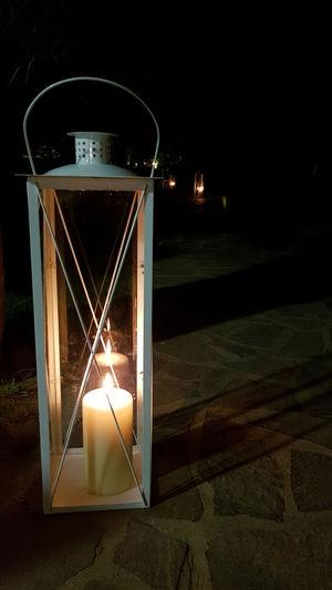 Close-up of illuminated lantern at night
