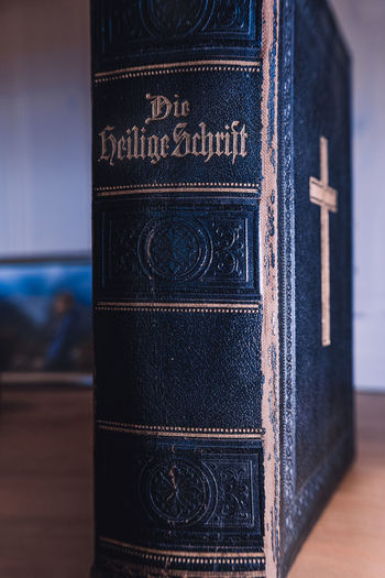 Close-up of text on old book