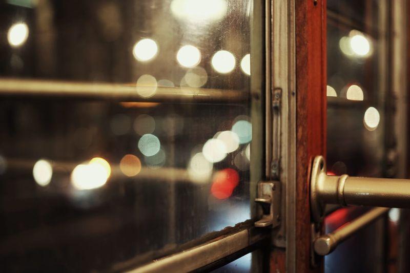 Close-up of window in tram