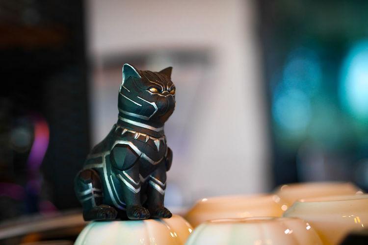 Close-up of a cat statue