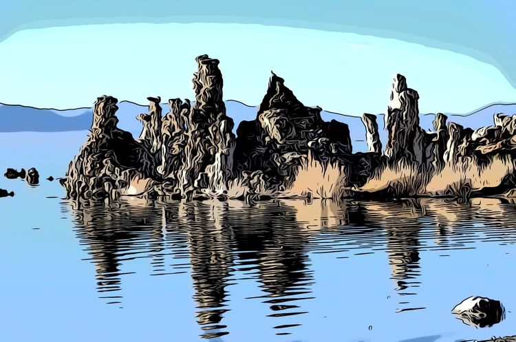 Tufas Mono Lake CA Water Sky Nature Lake Reflection Vertebrate Group Of Animals Animal No People Animal Themes Animals In The Wild Animal Wildlife Day Beauty In Nature Waterfront Tranquility Outdoors Rippled Flock Of Birds