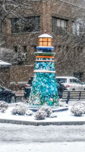 Snow and Sculpture~ Snow Winter Street Cold Temperature Outdoors Day No People Snowing Nature City Architecture Building Exterior Lighthouse Sculpture Firstsnow Lovemycity Looking For Inspiration Walking Around Town Happy Day Naturelover My Point Of View Colors Of Life Weather Portland, Maine USA