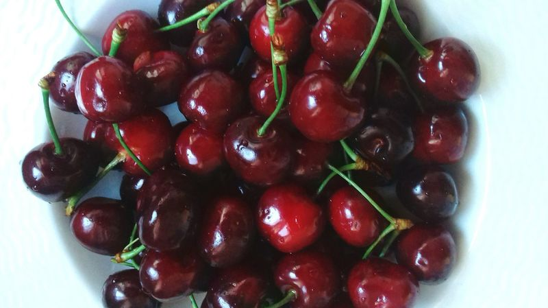 Food And Drink Fruit Directly Above No People Freshness Red Close-up Ready-to-eat Healthy Eating Food Taking Photos Random :) Cherries Red Passion Cherries🍒 Food And Drink Red Freshness Plate Hello World Growth Nature Hey There :) Check This Out Summer Is Coming