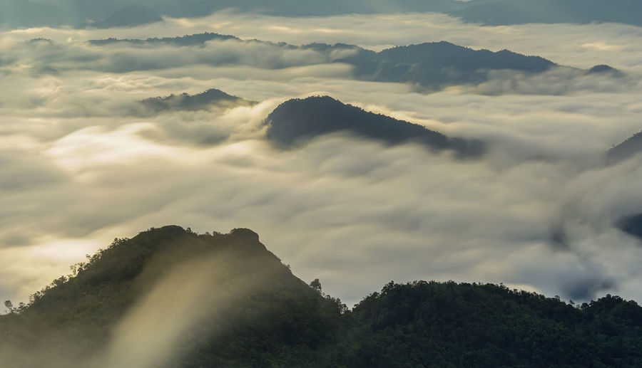 Misty mountains with crepuscular sun rays during sunrise time, Phu Chi Dao Chiangrai Thailand Chiang Rai, Thailand Misty Mountain View Orange Light On Clouds Phu Chi Dao Sunlight Sunrise Landscape Cloud - Sky Crepuscular Light Crepuscular Sun Rays Foggy Morning Hillside Landscape Thailand Mist Mist Mountains Sky Misty Morning Mountain Sea Fog Sun Rays Sunrise Sunrise And Clouds Sunshine Top Of The Mountains Top View Viewpoint