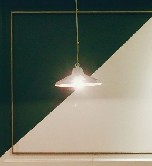 Lighting Equipment Illuminated Electricity  Hanging Indoors  No People Ceiling Low Angle View Close-up Day Green Half Diagonal Lines
