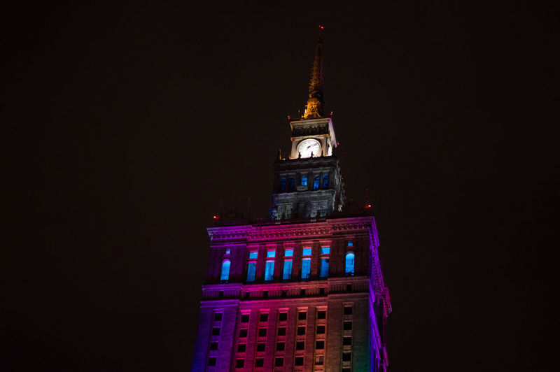 Poland Warsaw Europe Night Architecture Travel Destinations Illuminated Building Exterior Built Structure Building No People Tower Copy Space City Travel Tourism Nature Sky The Past Low Angle View Government History Purple Black Background Spire