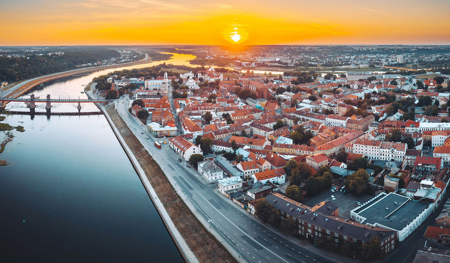 Kaunas old town, summer sunset Aerial Shot Drone  Aerial Aerial View Architecture Building Building Exterior Built Structure City Cityscape Crowd Crowded High Angle View Mavic Mavic Pro Nature Outdoors River Sky Sunset TOWNSCAPE Transportation Water