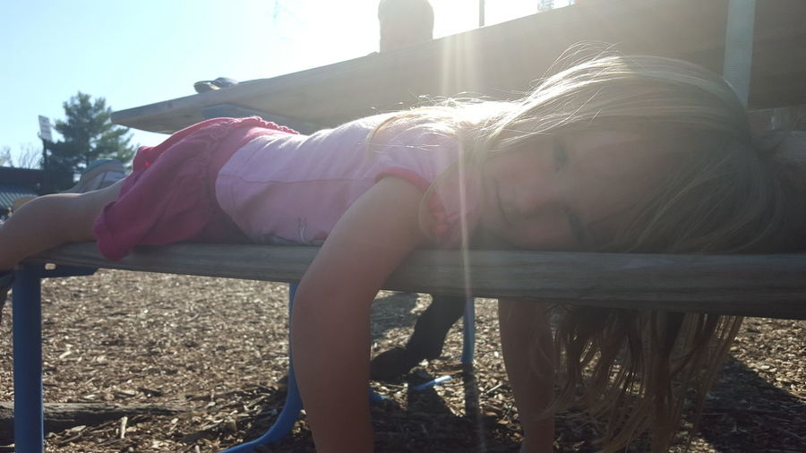 Childhood Picnic Table Playgrounds Sunny Day Children Photography