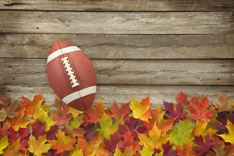 Digital composite image of american football ball on boardwalk by autumn leaves