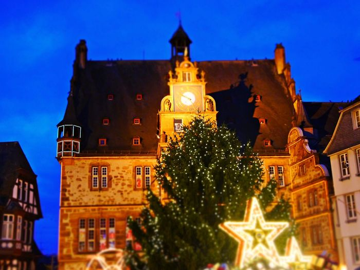 Christmas Market Town Hall House Architecture Building Exterior Built Structure Christmas Christmas Tree Illuminated Late Evening Sky Low Angle View Night No People Outdoors Sky Tree