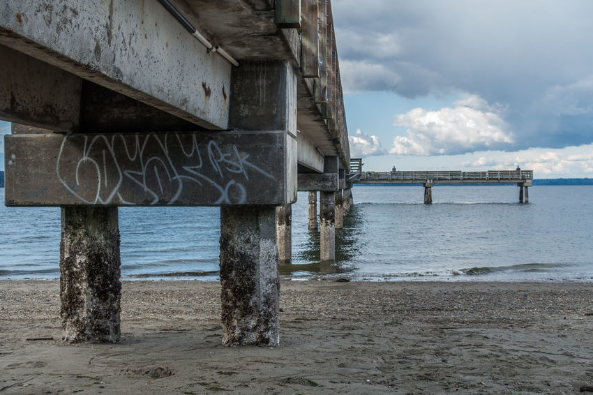 Beneath the pier at Dash Point, Washington. Washington State Architecture Beach Beauty In Nature Built Structure Cloud - Sky Dash Point Day Detail Horizon Over Water Nature No People Outdoors Pier Sand Scenics Sea Sky Tranquility Underneath Water