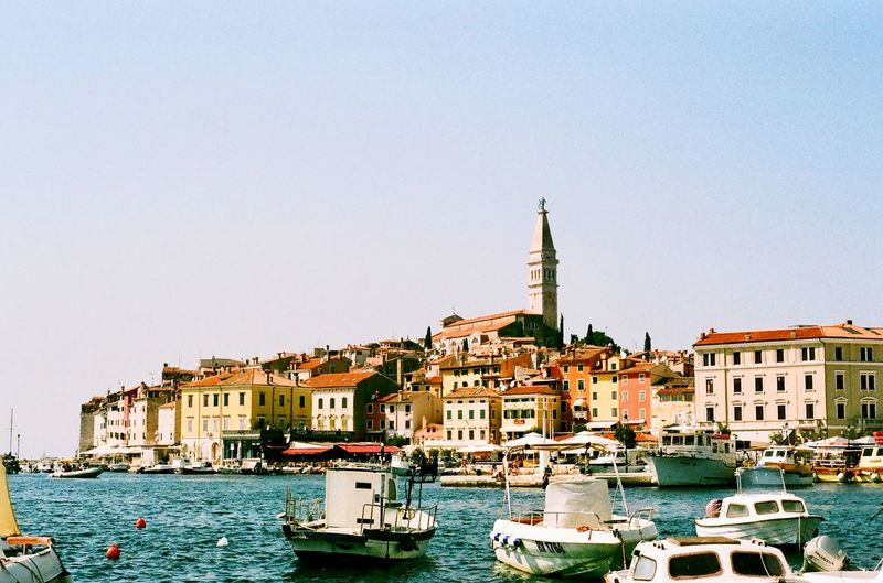 Beautiful towns in the Mediterranean. Daylight Europe Trip European  Europe Travel Destination Travel Photography Travelling Travel Mediterranean Sea Mediterranean  Adriatic Adriatic Coast Croatian Sea Croatian Croatia Rovinjcroatia Rovinj, Croatia Rovinj Nautical Vessel Mode Of Transport Transportation Copy Space Boat Waterfront No People Outdoors Sky Gondola - Traditional Boat Building Exterior Travel Destinations first eyeem photo