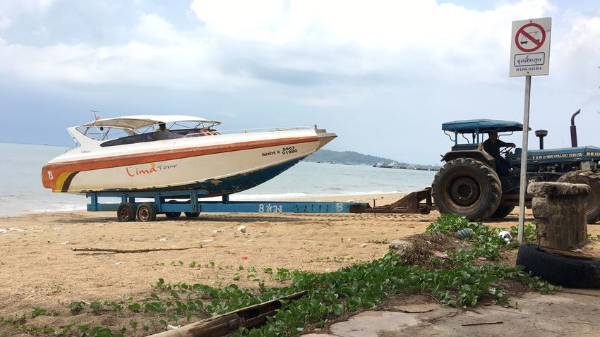 Boat Transportation Mode Of Transportation Sky Cloud - Sky Nature Land Day Communication Beach Text Land Vehicle No People Sign Sand Outdoors Road Western Script Abandoned Water Plant