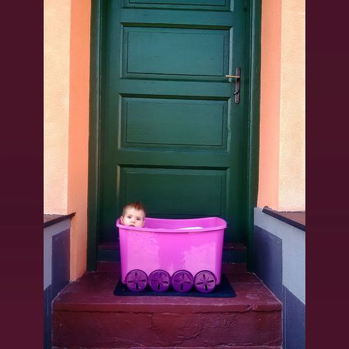Babylife Baby Babygirl Door Toybox Doorporn Doorway Green Green Door Box Pink Pink Box Baby In Toybox Stairs Behind The Door OpenEdit Popular The Week Of Eyeem Open Edit
