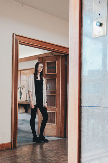 Abandoned Abandoned Places Beautiful Woman Casual Clothing Day Derelict Building Door Doorway Front View Full Length Hotel Indoors  Lifestyles Looking At Camera One Person Open Door People Portrait Real People Smiling Standing Window Women Young Adult Young Women
