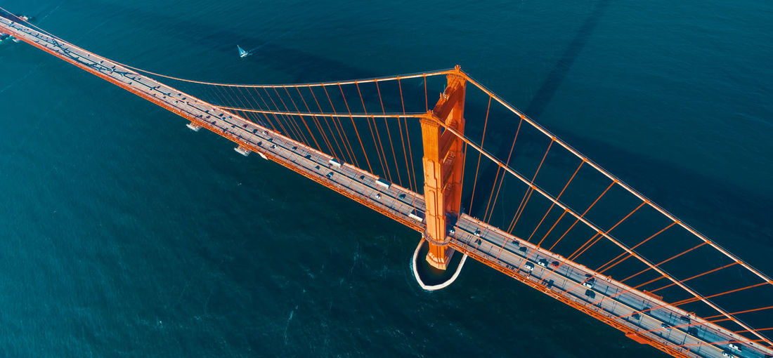 High angle view of suspension bridge over sea
