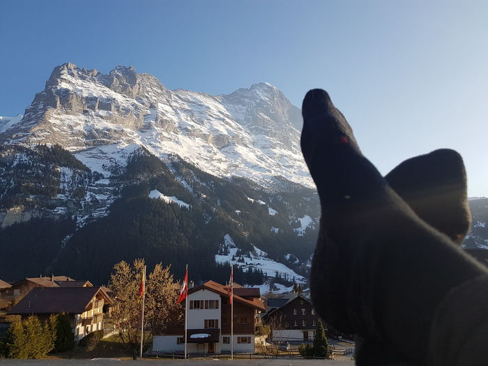 Relaxing in Grindelwald Feet Relaxing Mountain Snow Sky Mountain Range Snowcapped Mountain Mountain Peak Rocky Mountains