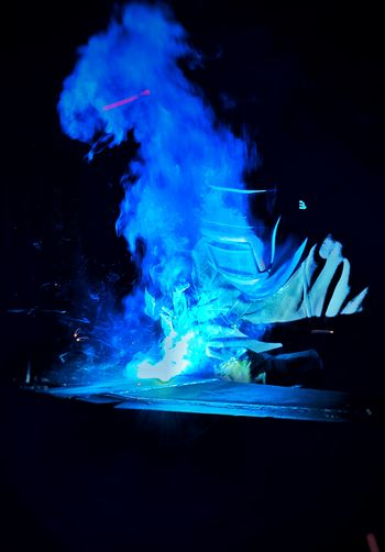 ... Fabric Steel Structure  Reflection Lights Shadows Shadow Light Ndt Work Welder Indoors  Black Background Blue