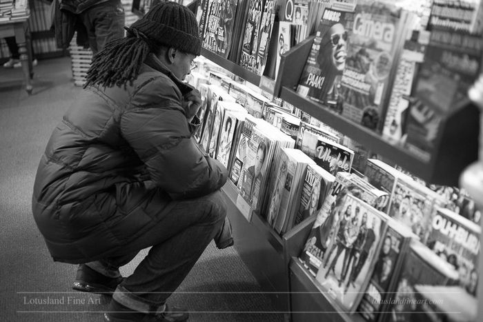 Browsing at Barnes and Noble Union Square, 2 January 2017. Adult Black & White Black And White Blackandwhite Choosing Customer  Indoors  LotuslandFA One Person Retail  Store Street Photography Streetphography Streetphoto_bw Streetphotography_bw