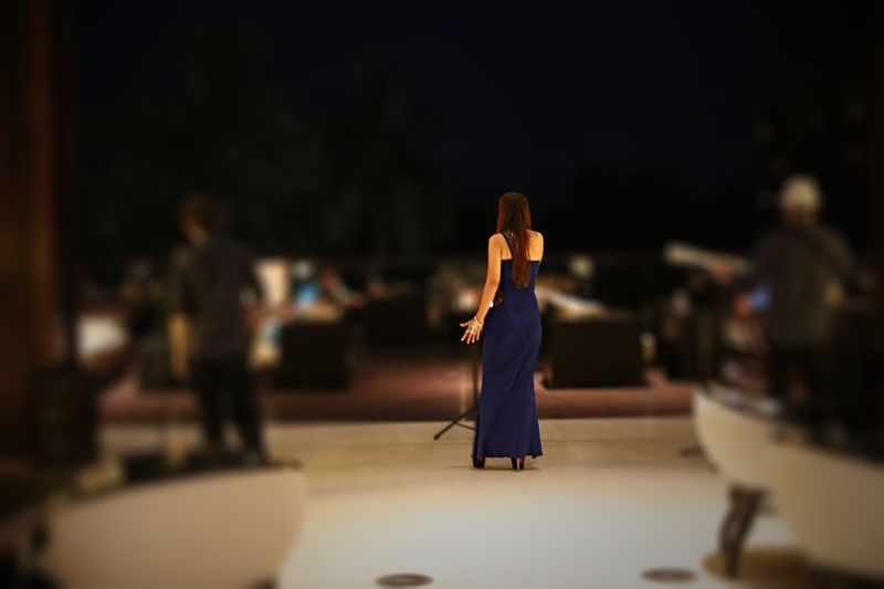 Tilt-shift image of woman signing on stage at music concert