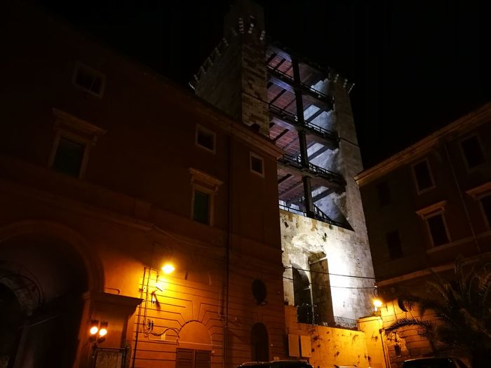Building Exterior Illuminated Outdoors Architecture Night City No People Cagliari, Sardinia Porta Cristina Low Angle View Built Structure Celebration Tree Christmas Tower Beautiful Place Cagliari,Castello,Torre San Pancrazio Christmas Tree