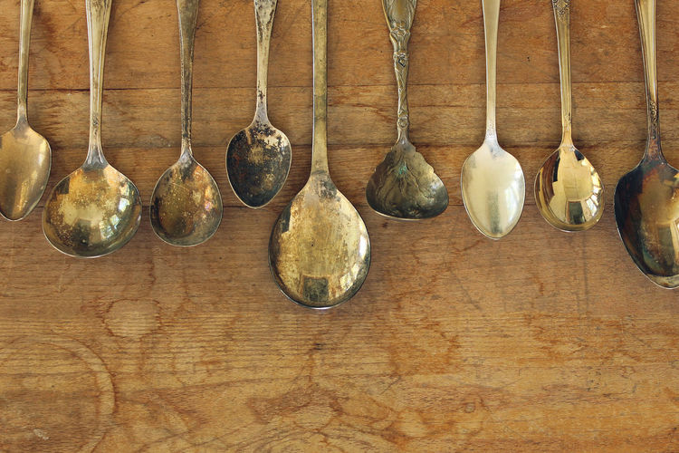 Silver spoon Background Collection Concept Cutlery Food And Drink Rustic Style Silver  Silver Spoons Silverware  Spoon Fed Table Tarnished Metal Variety Vintage Style Wealth Wood