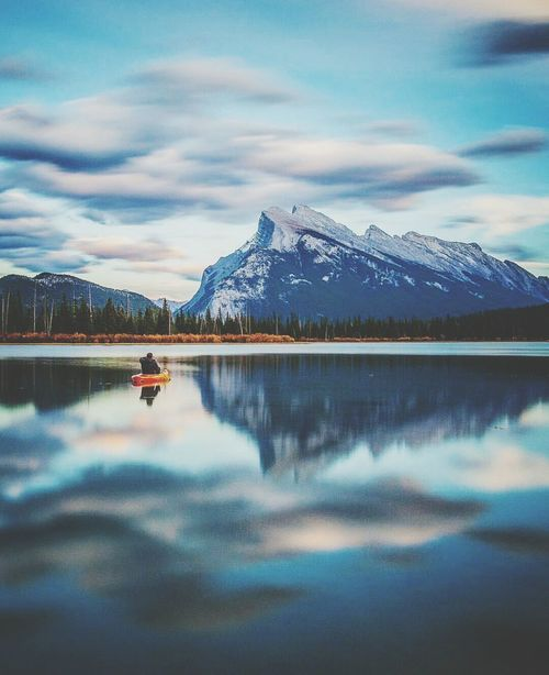 Reflection Lake Mountain Sky Water Tranquility Outdoors Sunset Tree Mountain Range No People Beauty In Nature Scenics Night Cloud - Sky Landscape Snow Nature