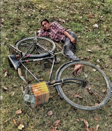 Bicycle Men Grass Field Wheel Tire