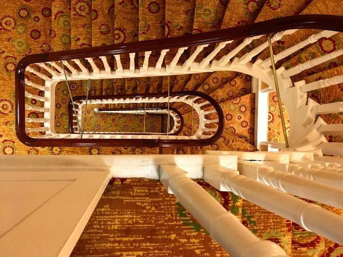 Stairs Architecture Built Structure Indoors  Staircase Steps And Staircases No People Building Railing Spiral High Angle View Pattern Diminishing Perspective The Way Forward The Past Directly Above Architectural Column History