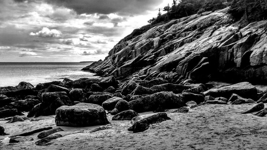 Acadia, Maine Beach Sea Sand Rock - Object Cloud - Sky Nature Sky Horizon Over Water Outdoors Beauty In Nature Tranquility No People