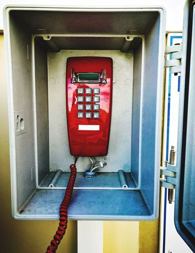Red Communication Connection Day No People Pay Phone Telephone Booth Indoors  Close-up Long Distance  Mystery Prank