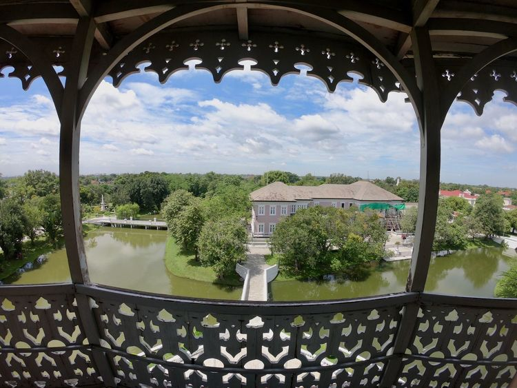 View Thailand Bangpainsummerpalace Thailand_allshots Thailand Photos GoProhero6 Goprooftheday Architecture Water Built Structure Plant Building Exterior Cloud - Sky Sky Tree Nature No People Building Day Railing Arch Outdoors Lake Window Roof Architectural Column Swimming Pool