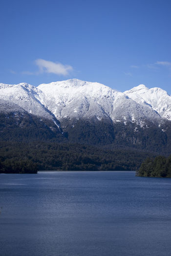 Patagonia Lake View of Snow Capped Mountains Argentina Blue Cloud Forrest Green Lake Lake View Lakeshore Patagonia Reflection Serence Sky Snow Snow Capped Mountains South America Tourism Travel Tree Water