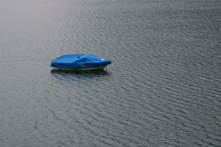 High angle view of boat moored on shore
