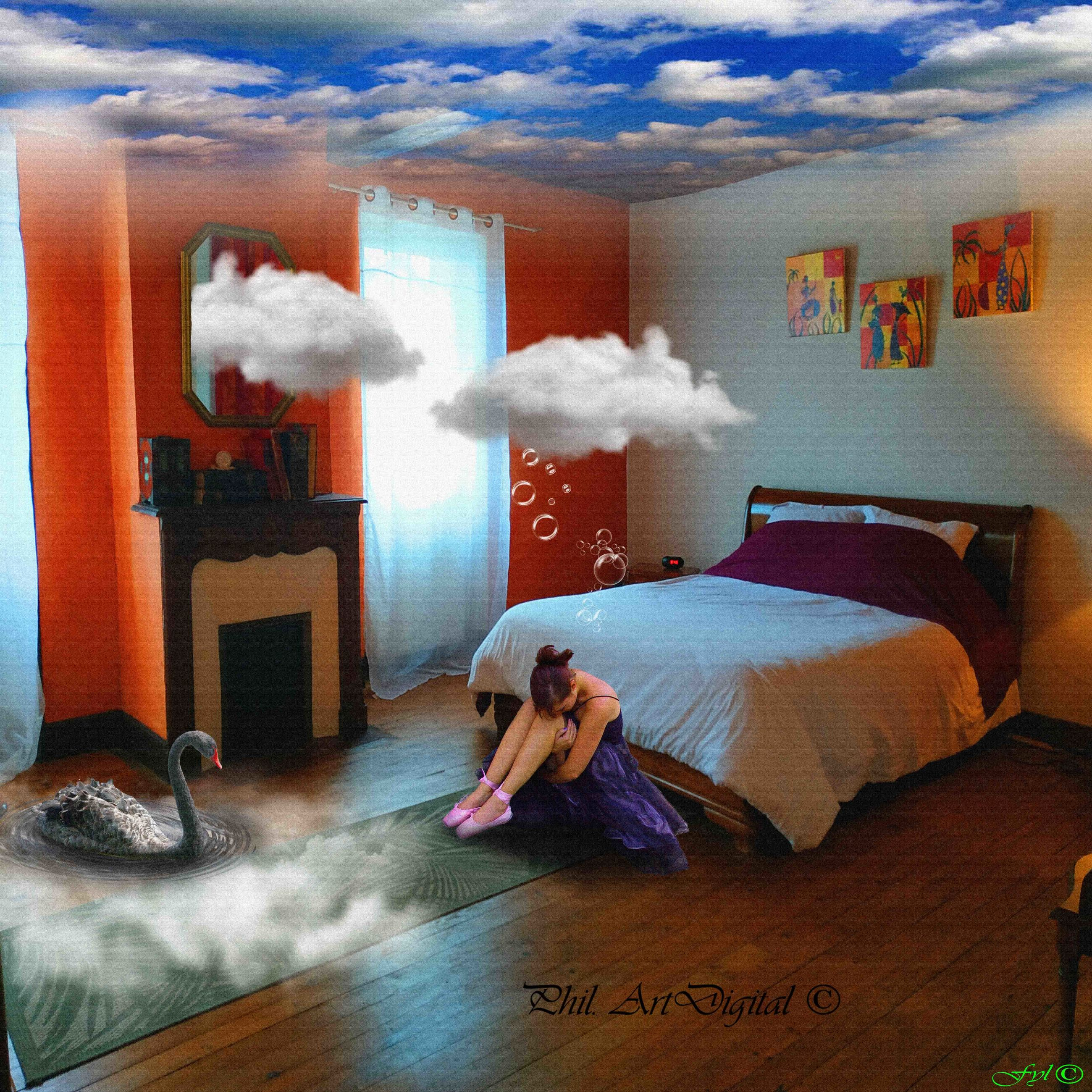 furniture, indoors, text, one person, real people, blurred motion, motion, lifestyles, leisure activity, smoke - physical structure, bed, women, domestic room, home interior, digital composite, relaxation, pillow, full length, adult
