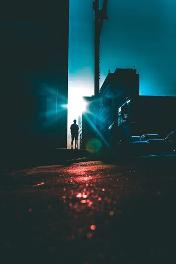 Night Illuminated Silhouette Real People Transportation Two People Street Built Structure Walking Car Building Exterior Architecture Outdoors City Men Full Length Lifestyles Road