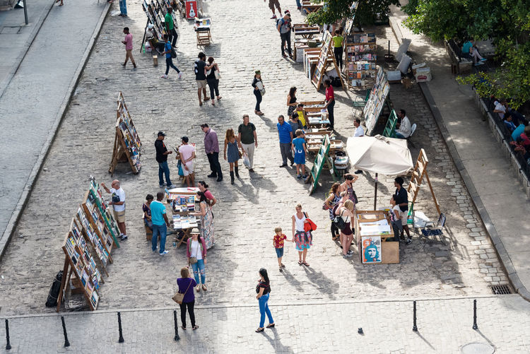 High angle view of crowd with booksellers at plaza de armas