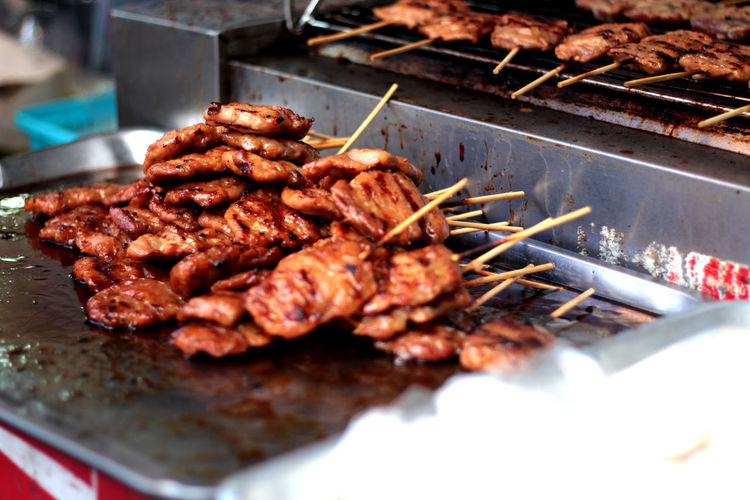 Close-Up Of Meat Skewers