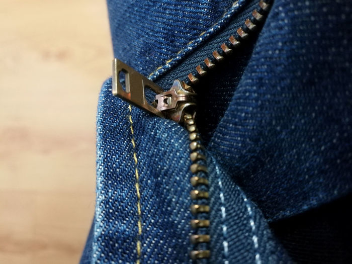 Close up of zipper on jeans