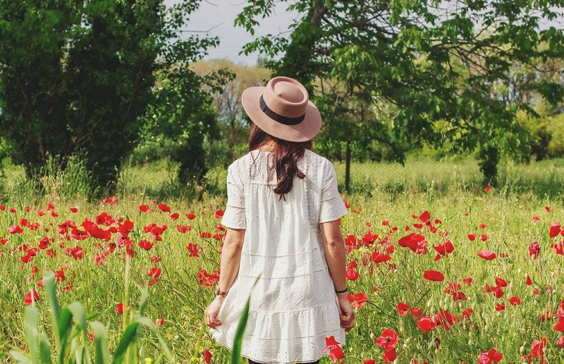 Rear view of woman standing by red flowers on field