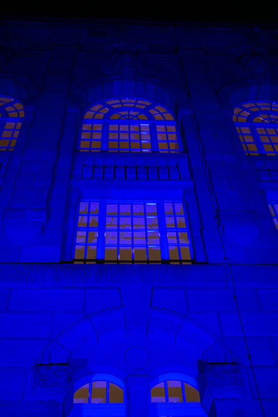 Architecture Blue Blue Building Blue Building Exterior Outdoors Surface Level Day Development Blue Illumination Blue Night Blue Night Building Blue Night Nuremberg Building Exterior Built Structure Day Low Angle View No People Outdoors Spirituality Window