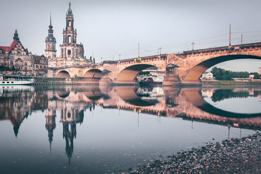 Augustusbrücke | Dresden, Germany 2015 Arch Arch Bridge Architectural Column Architecture Augustusbridge Bridge Canal Capital Cities  City City Life Connection Day Dresden Europe Outdoors Reflection River Sand Saxony Sky Standing Water Tourism Travel Destinations Water Waterfront