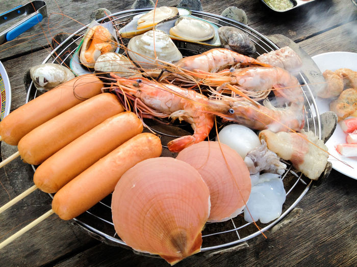Food And Drink Seafood Freshness Food Crustacean High Angle View Close-up Healthy Eating Prawn Meat Shrimp - Seafood Wellbeing No People Day Still Life Kitchen Utensil Shell Raw Food Barbecue Preparation  Lobster