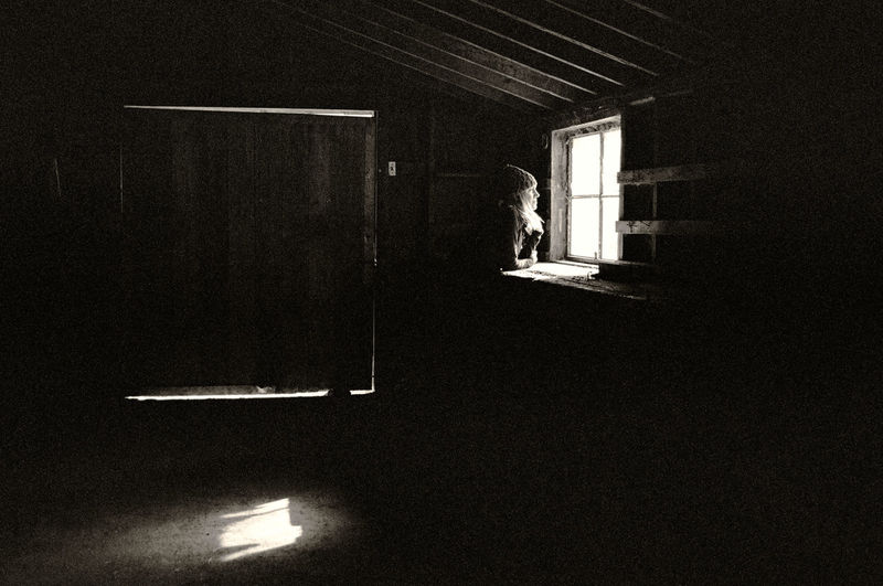 Dark Building One Person Window Light Standing Indoors  Sunlight Face Illuminated Contemplation Girl Woman Barn Rurex Blonde Blackandwhite Black And White Monochrome Film Grain Contrast Shadow Built Structure Door