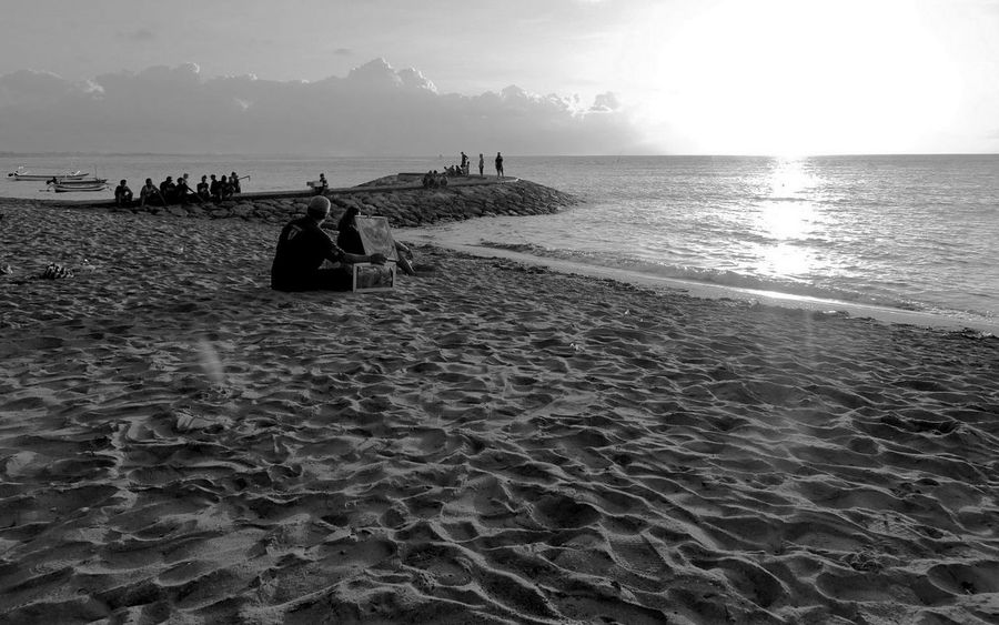 Beach Beauty In Nature Black And White Photography Horizon Over Water Idyllic Lifestyles Sand Sea Sunrise Tranquility Vacations Watching The Sunrise