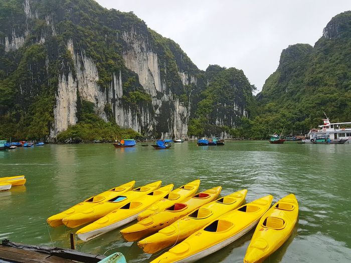 Paint The Town Yellow Vietnam Halong Bay Vietnam Kayak Nautical Vessel Kayaking In Nature Yellow Mountains And Sky Outdoors Water Mountain
