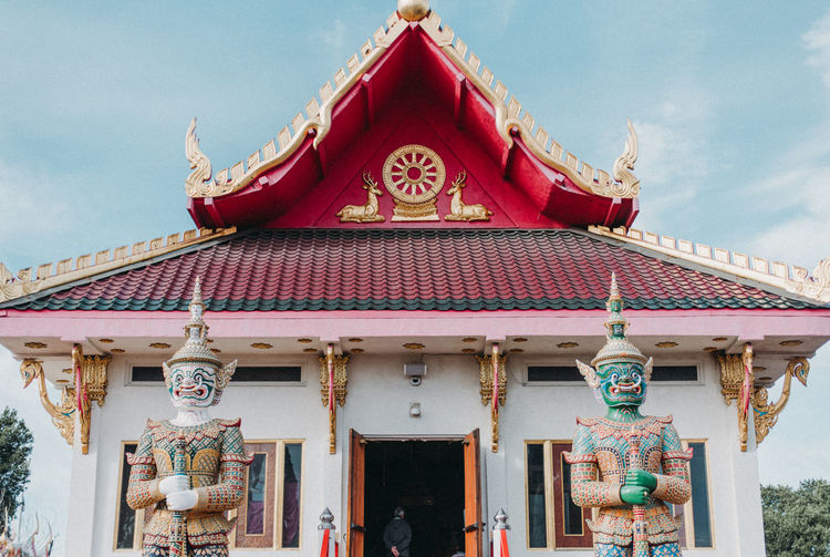 Thailand Architecture Art And Craft Belief Building Building Exterior Built Structure Cloud - Sky Creativity Day Entrance No People Ornate Outdoors Place Of Worship Religion Representation Sculpture Shrine Sky Spirituality