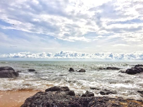 Sea Water Tranquil Scene Scenics Tranquility Horizon Over Water Calm Beauty In Nature Beach Sky Rock - Object Shore Nature Cloud Idyllic Seascape Wave Cloud - Sky Majestic Day First Eyeem Photo