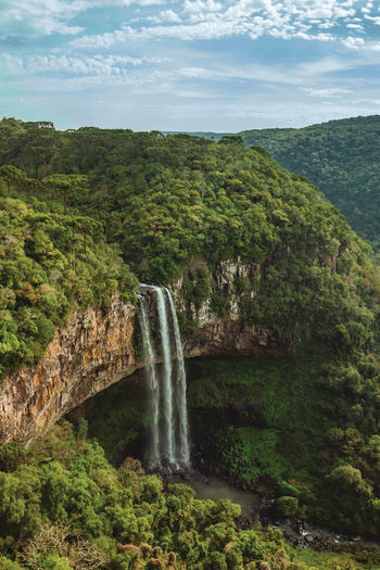 Caracol waterfall falling from rocky cliff in a canyon covered by forest near canela, brazil.