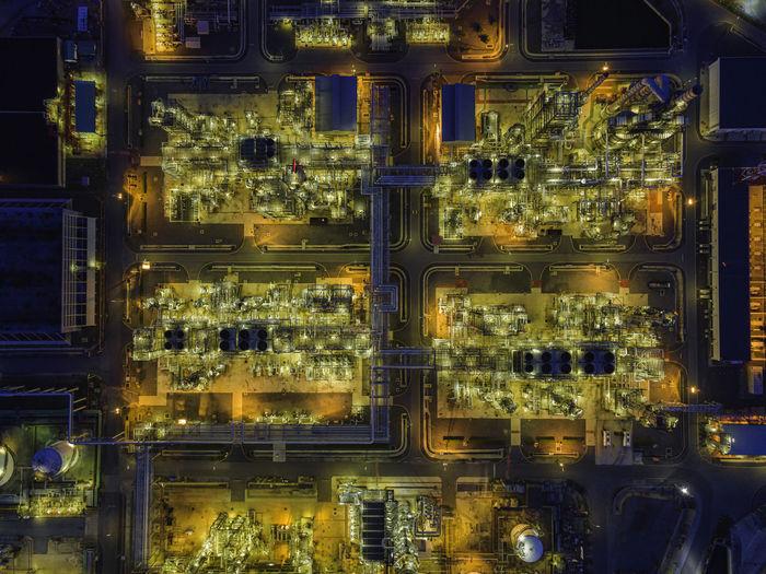 Illuminated lanterns in factory